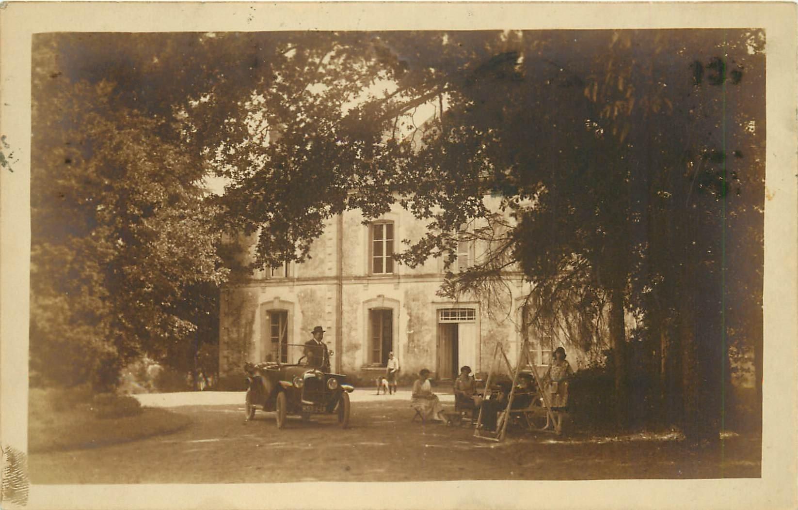 92 MONTROUGE. Voiture ancienne dans le Parc d'une Villa 1926. Photo carte postale ancienne