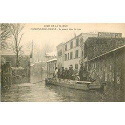 Inondation et Crue de 1910. NOGENT-SUR-MARNE 94. Le Passeur dans les Rues