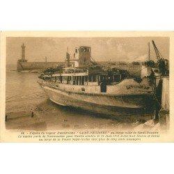 """44 SAINT-NAZAIRE. Epave du vapeur excursions """" Saint-Philibert """" qui sombra en 1931"""