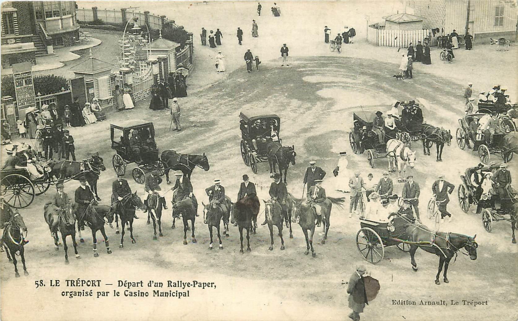 76 LE TREPORT. Départ d'un Rallye Paper du Casino. Carte publicitaire Arnault Photographe