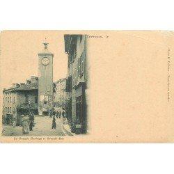 01 TREVOUX. La Grande Horloge sur Grande Rue 1902