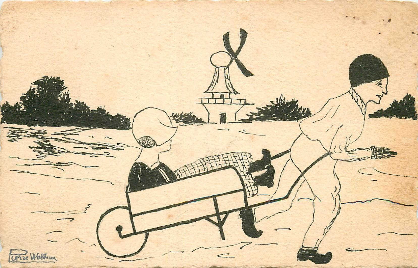 PIERRE WALDNER. Carte dessinée à la main. Pierrot et Hollandaise sur brouette avec Moulin à vent.