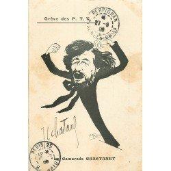 Illustrateur MORER. Grève des P.T.T caricature politique. Le Camarade Chastanet avec sa dédicace 1909