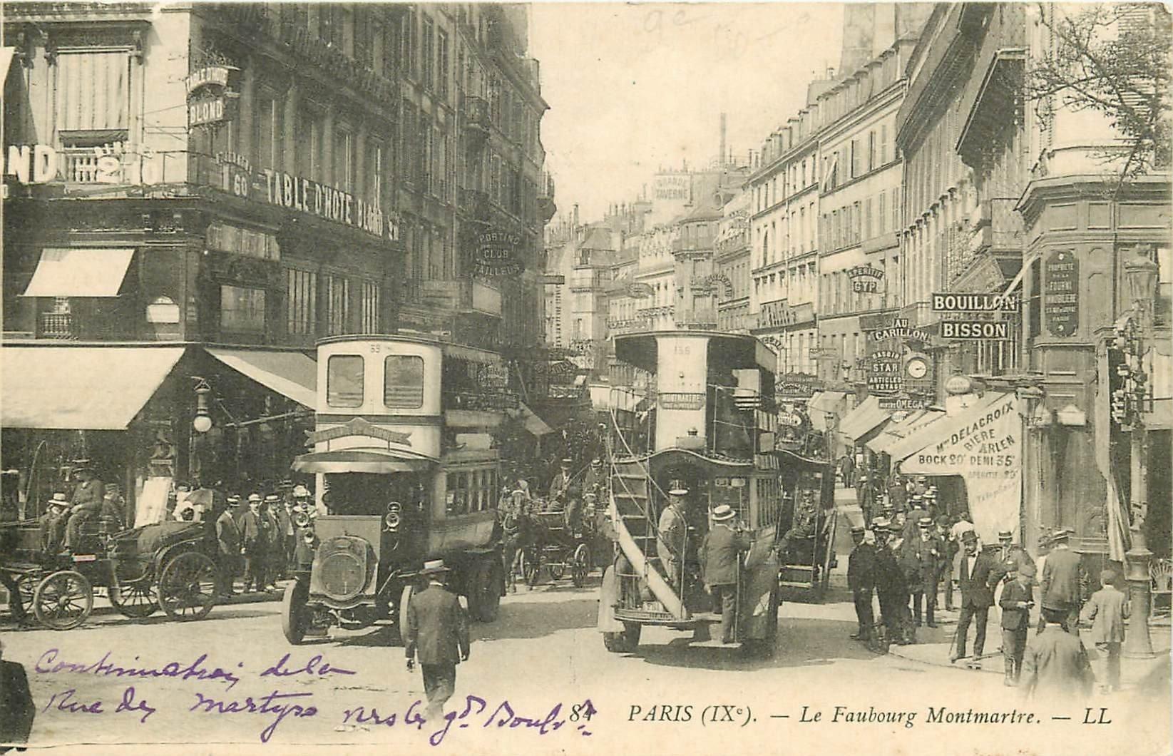PARIS IX° Faubourg Poissonnière et rue Papillon 1907 carte postale ancienne