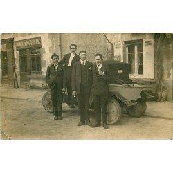 """TRANSPORT. Voiture """" La Trèfle Citroën """" style bateau devant une Boulangerie. Photo carte postale ancienne et rare"""