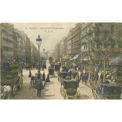 PARIS IX° Attelage Bus à Impériale et Fiacres Boulevard Montmartre 1903