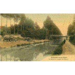 93 AULNAY-SOUS-BOIS. Attelages pour le sable rives du Canal et Pont de l'Union 1915