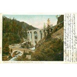 74 CHAMONIX. Train sur Chemin de Fer électrique au Pont Sainte-Marie 1903