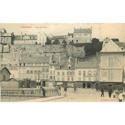 95 PONTOISE. Boucherie Boulangerie et Pharmacie Place du Pont 1911