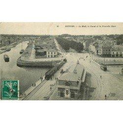 35 RENNES. Le Mail, Canal et Gare avec train vers 1910