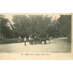 59 LILLE. Attelages ânes pour promenades au Jardin Vauban 1928