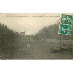 73 LE CHATELARD. Jardinier et Paysans devant le Vieux Château 1914 Massif des Bauges