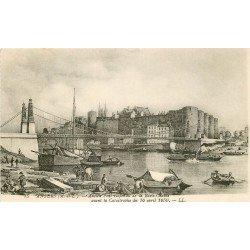 49 ANGERS. Ancien Pont suspendu de la Basse-Chaîne avant la catastrophe de 1850