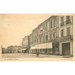 33 LANGON. Café du Midi Place Maubec et Banque Crédit Commercial de France 1934
