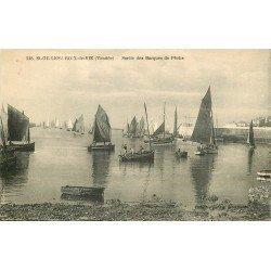 85 SAINT GILLES CROIX DE VIE. Sortie des Barques de Pêche et Pêcheurs 1925