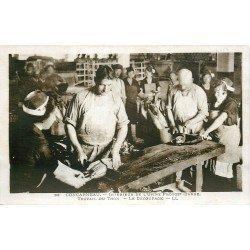 29 CONCARNEAU. Usine Provost-Barbe. Découpage et Travail du Thon. Photo carte postale ancienne