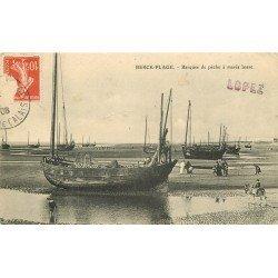 62 BERCK-PLAGE. Barques de Pêche à marée basse avec âne 1908
