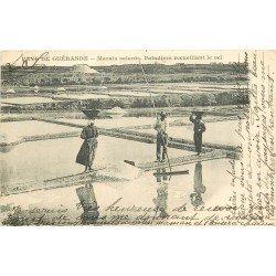44 GUERANDE. Paludiers recueillant le Sel aix Marais Salants carte postale ancienne vers 1900