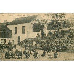 78 BAZEMONT. Orphelinat Saint-Joseph les écoliers en récréation et attelage âne