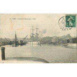 carte postale ancienne 14 CAEN. Top Promotion. Navires Bassin du Commerce 1909