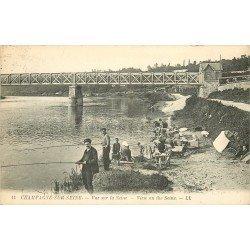 77 CHAMPAGNE-SUR-SEINE. Pêcheurs à la ligne et Lavandières 1923