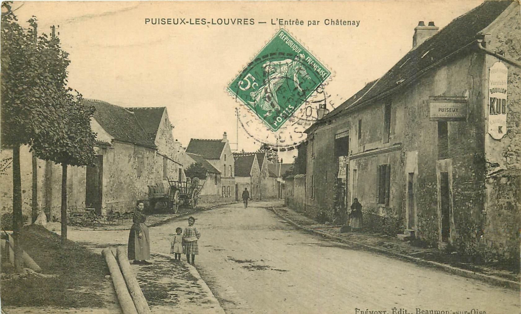 95 PUISEUX-LES-LOUVRES ou PUISEUX-EN-FRANCE. L'Entrée du Village par Châtenay 1913