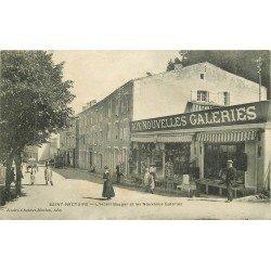 """63 SAINT-NECTAIRE. Hôtel Bauger et magasin de cartes postales """" Aux Nouvelles Galeries """" 1910"""