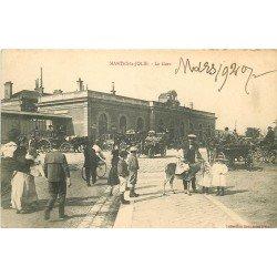 78 MANTES-LA-JOLIE. La Gare avec fiacres, voitures anciennes et ballades à dos d'âne
