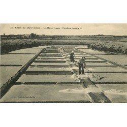 85 CROIX-DE-VIE. Paludiers tirant le Sel dans les Marais salants