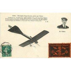 AVIATION. Monoplan Deperdussin piloté par Vidart. Vignette 1911 Aéroplane et Avion
