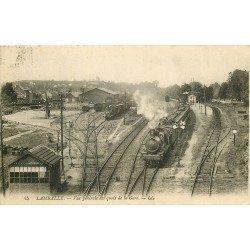 22 LAMBALLE. Train avec Locomotive à vapeur quais de la Gare 1928
