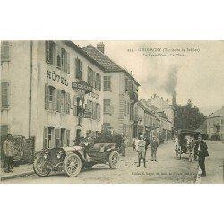 90 GIROMAGNY. Attelage et Automobile ancienne devant Hôtel du Boeuf sur Grand'Rue et Place 1918