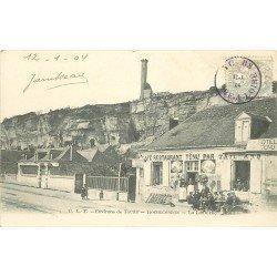 37 ROCHECORBON. Café Restaurant de la Lanterne. Uniquement timbrée au recto 1904