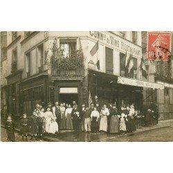 PARIS XX. Vins Restaurant Feydel 100 Boulevard de Ménilmontant et rue Cendriers. Photo carte postale ancienne 1909