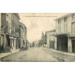 65 CASTELNAU-MAGNOAC. Voiture devant Pâtisserie et Tabac Route de Toulouse 1928