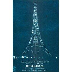 PARIS. Illuminations de la Tour Eiffel avec les lampes Philips éxécutées par Jacopozzi