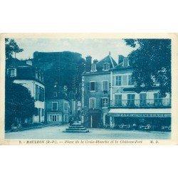 64 MAULEON. Boucherie et Café du Commerce Place de la Croix Blanche ainsi que le Château-Fort