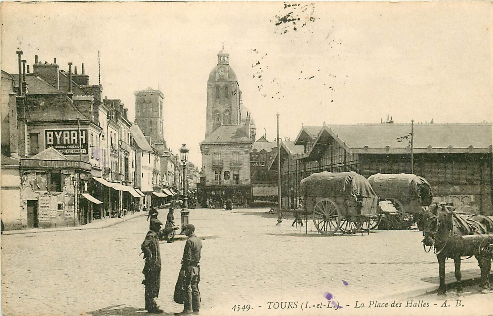 37 TOURS. Attelage sur la Place des Halles 1924 Panneau Byrrh