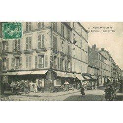 93 AUBERVILLIERS. Attelages devant Café Tabac rue Solférino 1908