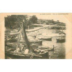 83 CARQUEIRANNE. Pêcheurs à l'ouvrage dans leurs bateaux de Pêche au Port