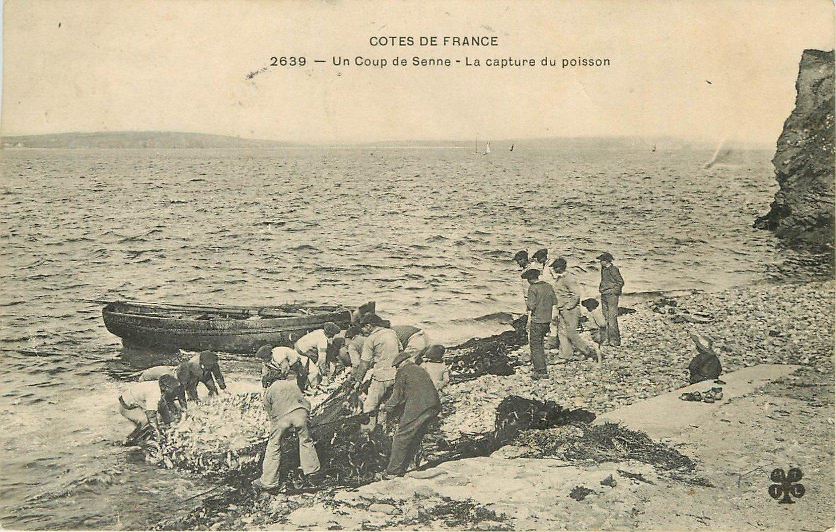METIERS DE LA MER. Un coup de senne, la capture du poisson dans les filets des Pêcheurs 1908