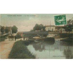 55 PAGNY-SUR-MEUSE. Péniche halée par des Chevaux sous le Pont du Canal 1913. Edition Comptoirs Français