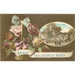 80 ROYE. Ruines de l'Hôtel de Ville et fleur de Pensée 1919