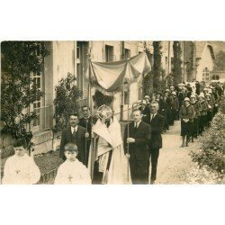 77 SAMOIS SUR SEINE. Une Procession religieuse 1933. Photo carte postale ancienne