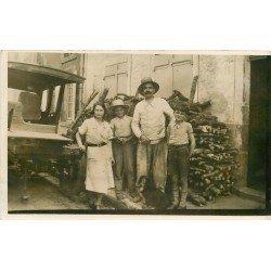 METIERS. Paysan Artisan livreur de bois avec sa camionnette. Photo carte postale ancienne