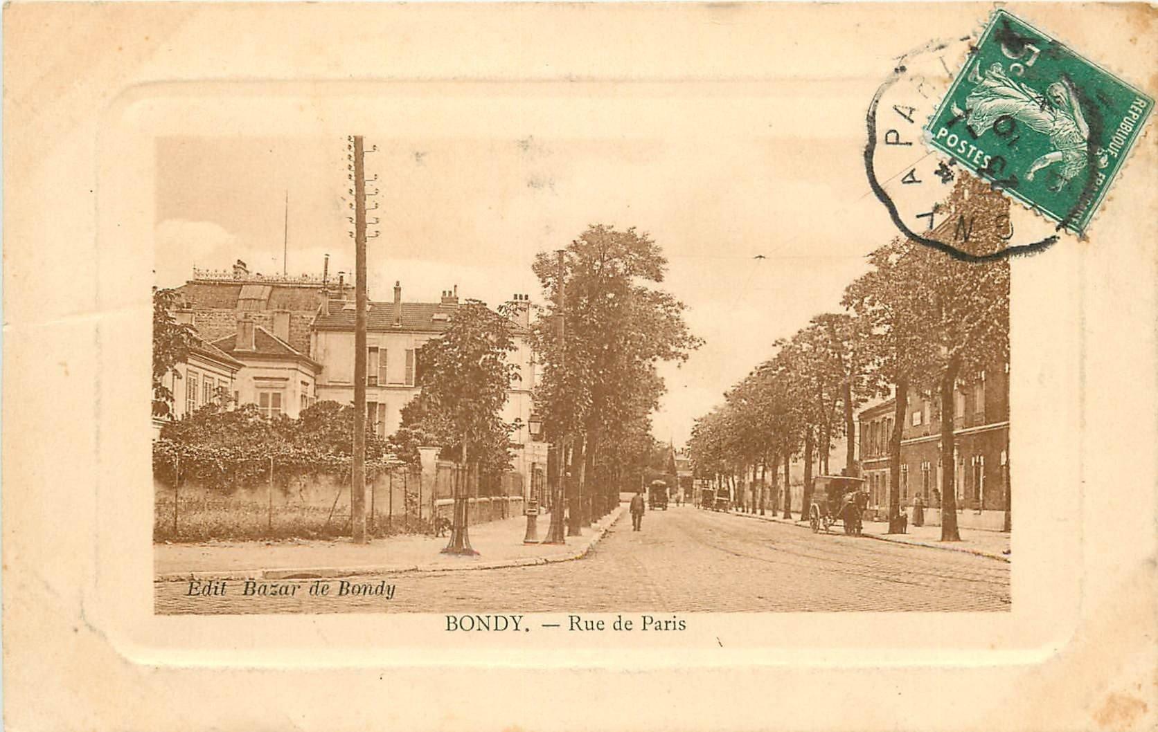 93 BONDY. Attelage de livraisons Rue de Paris 1910