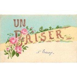 61 ESSAI ou ESSAY. Un Baiser carte peinte à la main 1946