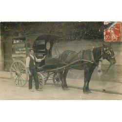 """METIERS. Attelage livraison de lait Maison Poupard appelé aussi """" Nourrisseurs """" Photo carte postale vers 1908"""