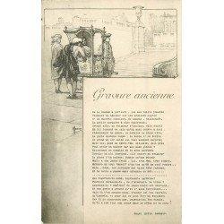 MAURICE Illustrateur. D'après une gravure ancienne la Chaise à Porters de Lesueur