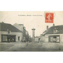 18 BRUERE. Café du Commerce sur la Place située au Centre de la France 1908